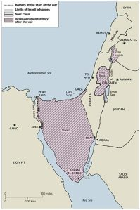 Israel and the Occupied Territories which it took over in 1967. The Sinai Peninsula has since been given back to Egypt.