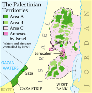 Israel and the Occupied Territories after the Oslo Accords - you will see the three different areas. Area A is under Palestinian civilian and security control. Area B is under Palestinian civilian control and under joint Israeli-Palestinian security control. Area C is under Israeli control.