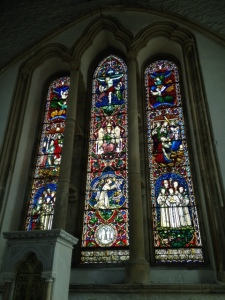 Stained glass window behind the altar in Duiske Abbey